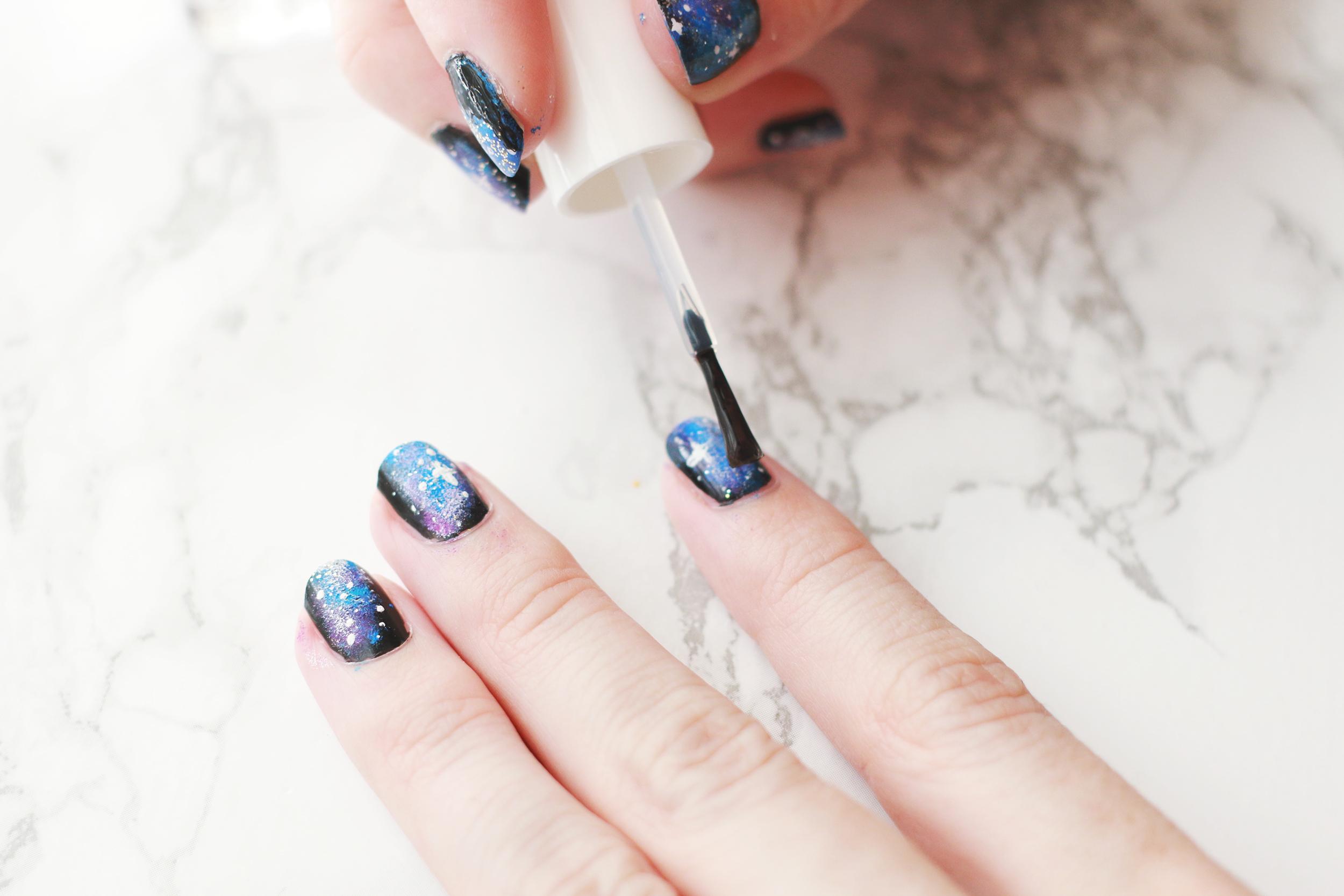 Easy Galaxy Nails Mani DIY - A Beautiful Mess
