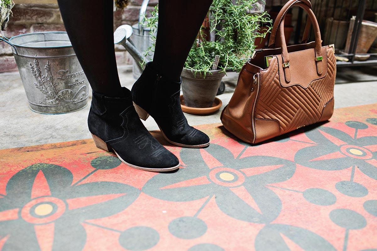Black boots brown bag