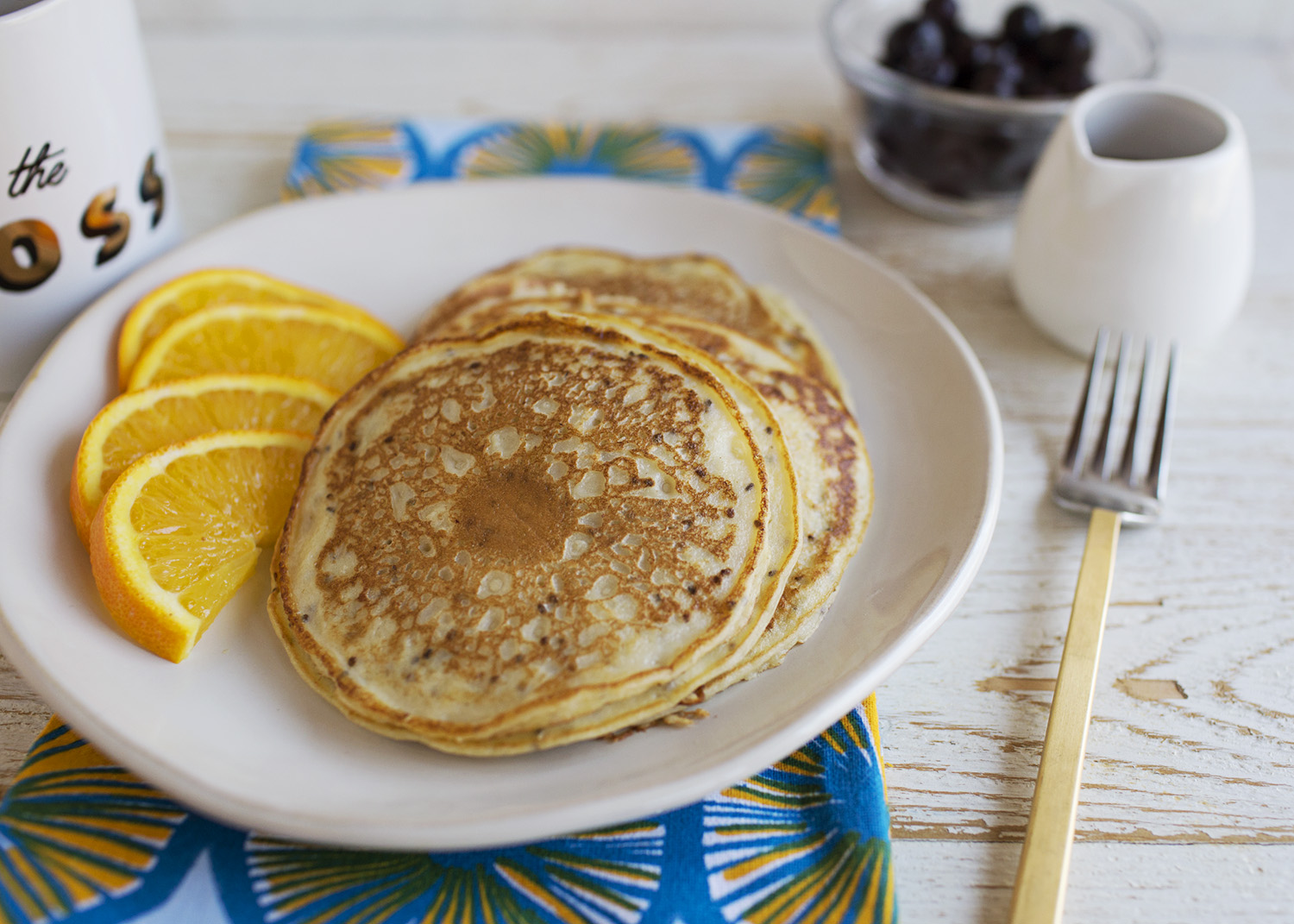 Banana and Chia Seed Blender Pancakes (via abeautifulmess.com)