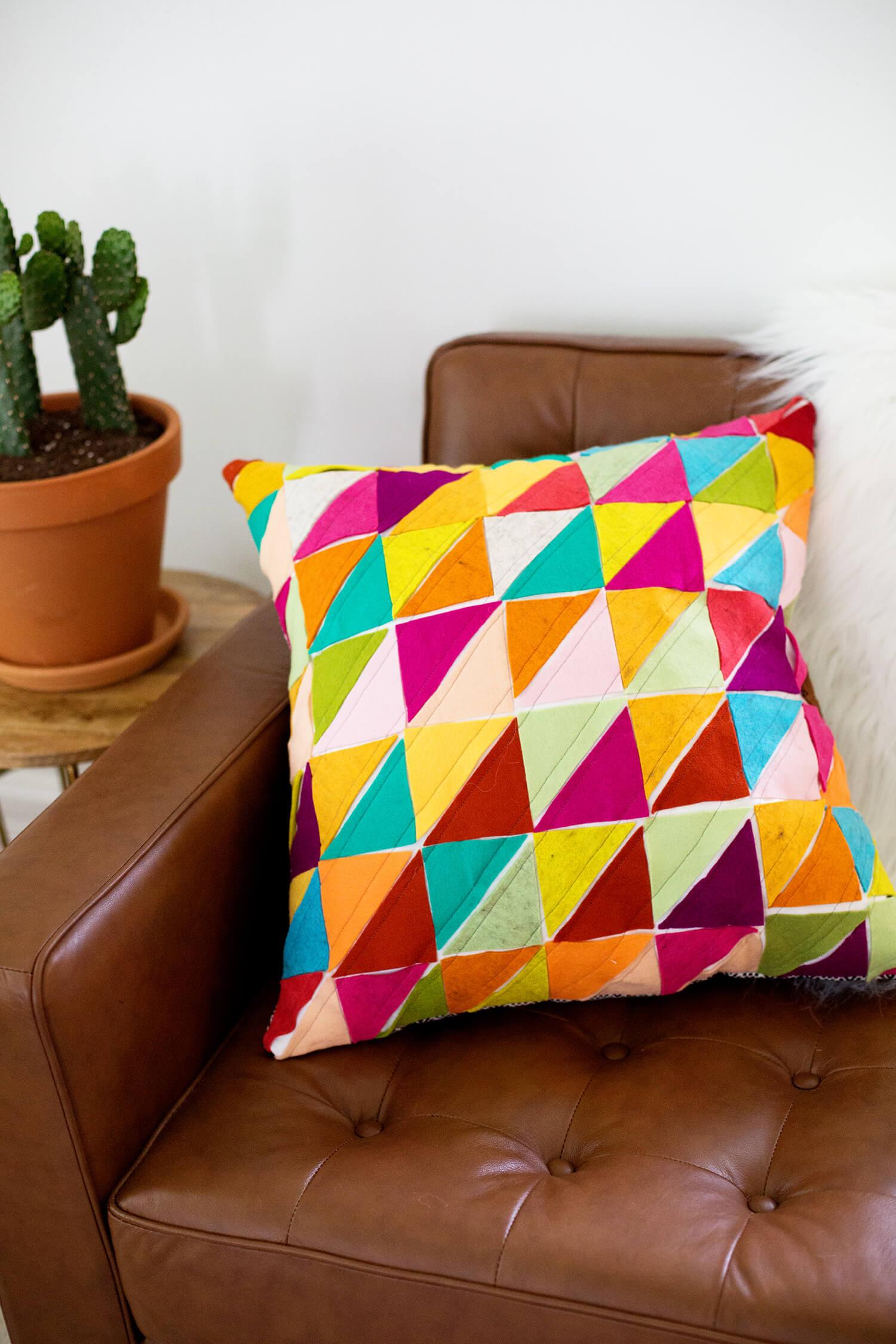 Geometric Wool Felt Pillow