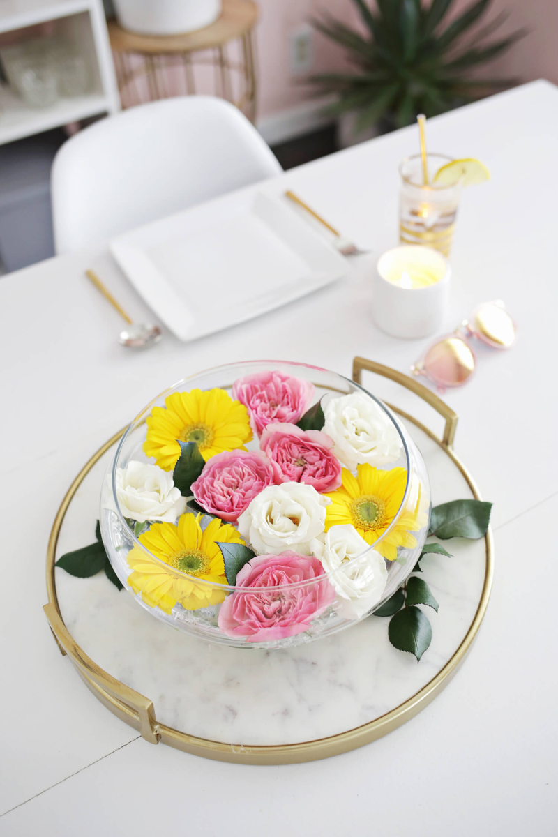 Easy Floating Floral Arrangement DIY - A Beautiful Mess