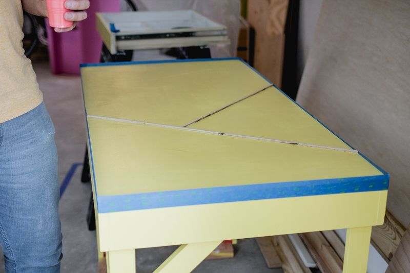 Office desk w: color infused epoxy top - taping edge (click for more details)