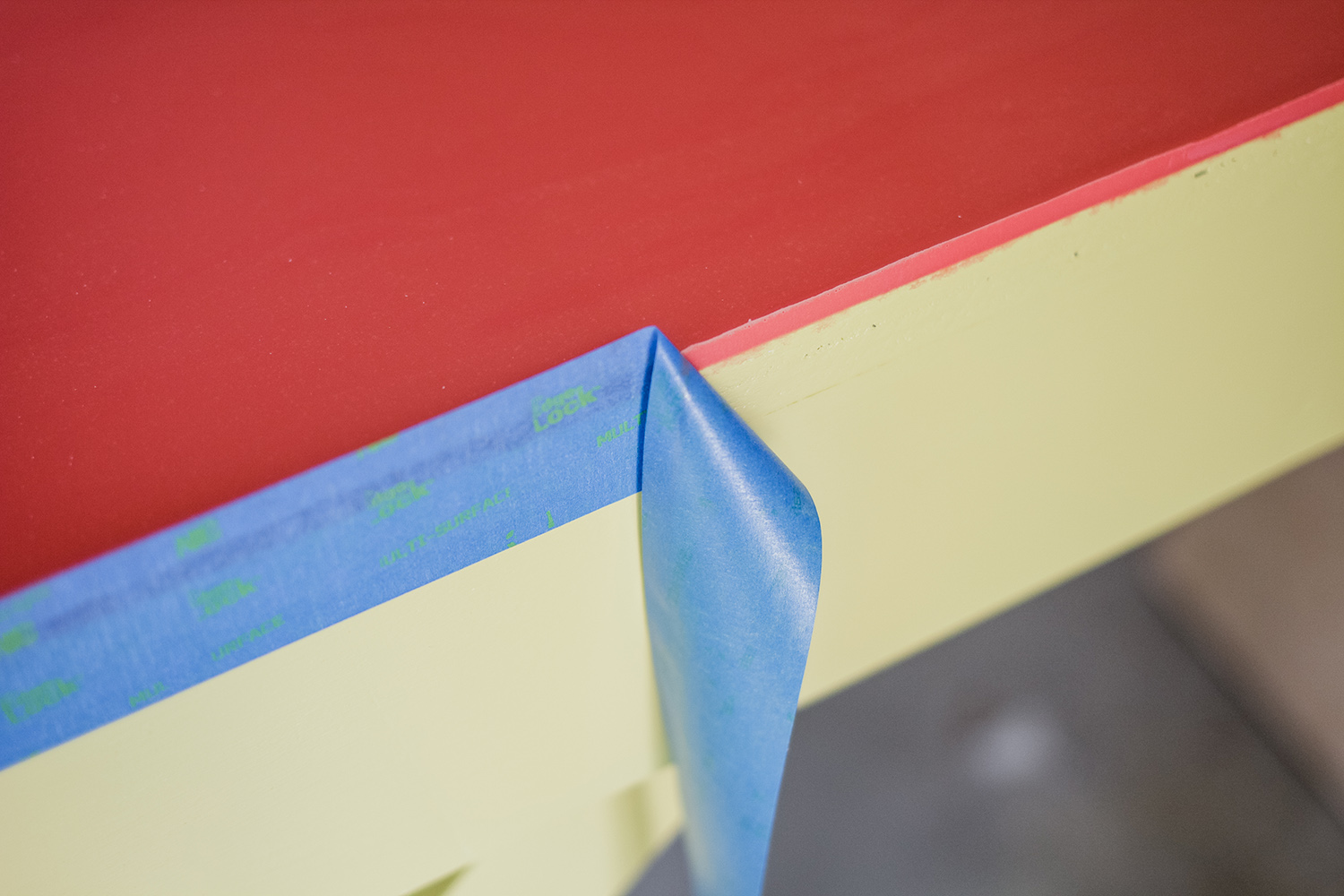 Office desk w: color infused epoxy top - removing tape (click for more details)