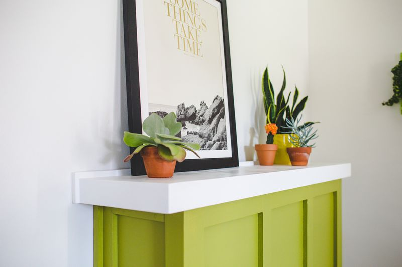 Faux fireplace surround (click to learn more)