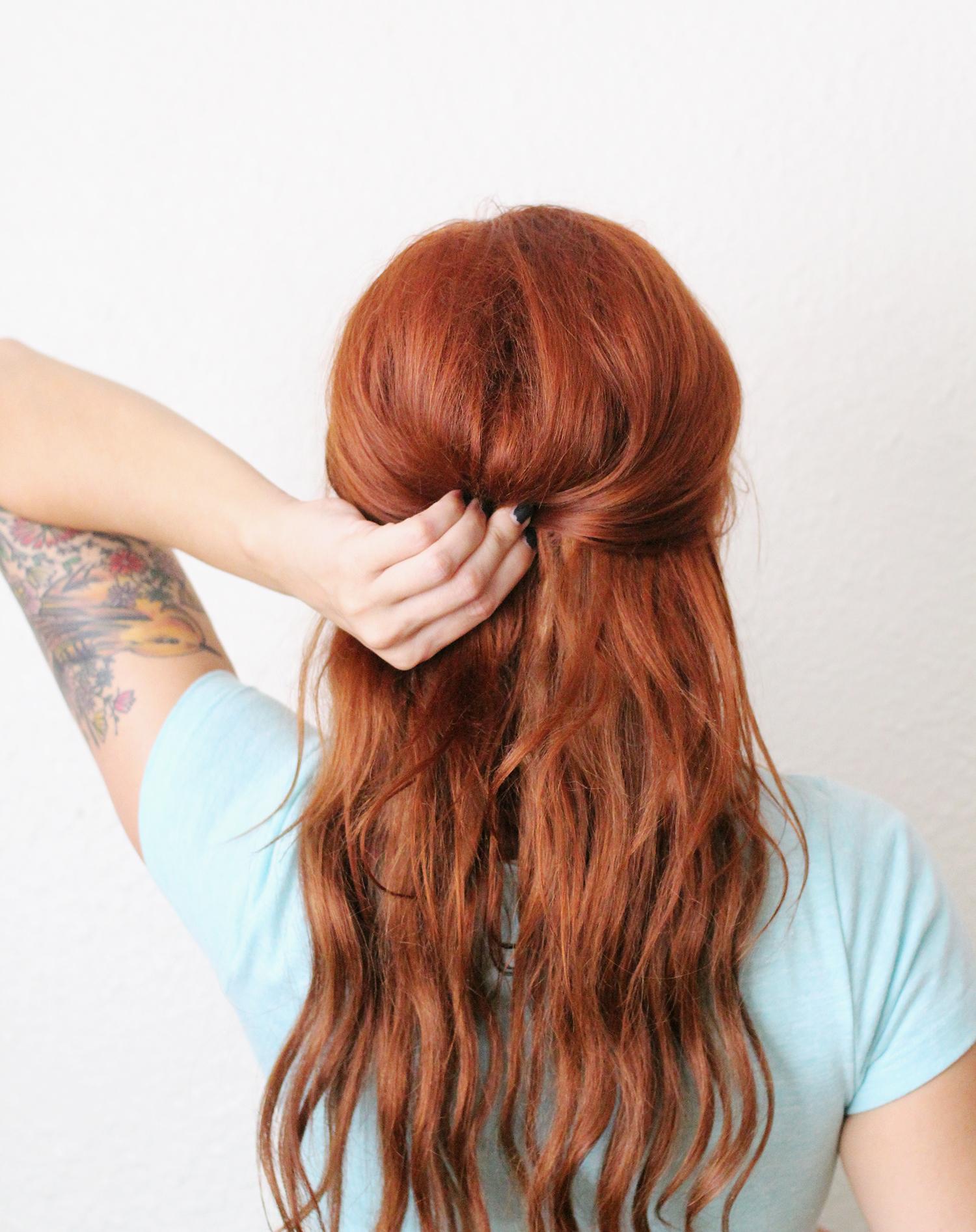 Pin half of the hair