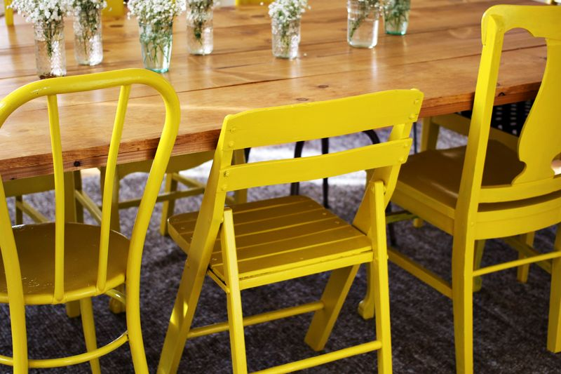 Yellow painted chairs
