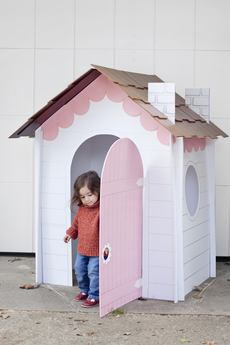Make a collapsible playhouse out of cardboard, foamboard, or masonite