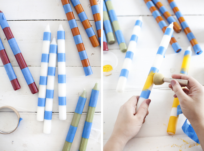 Try this striped candlesticks a beautiful mess for Can you paint candles with acrylic paint