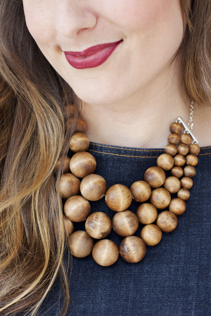Chunky wood bead necklace diy