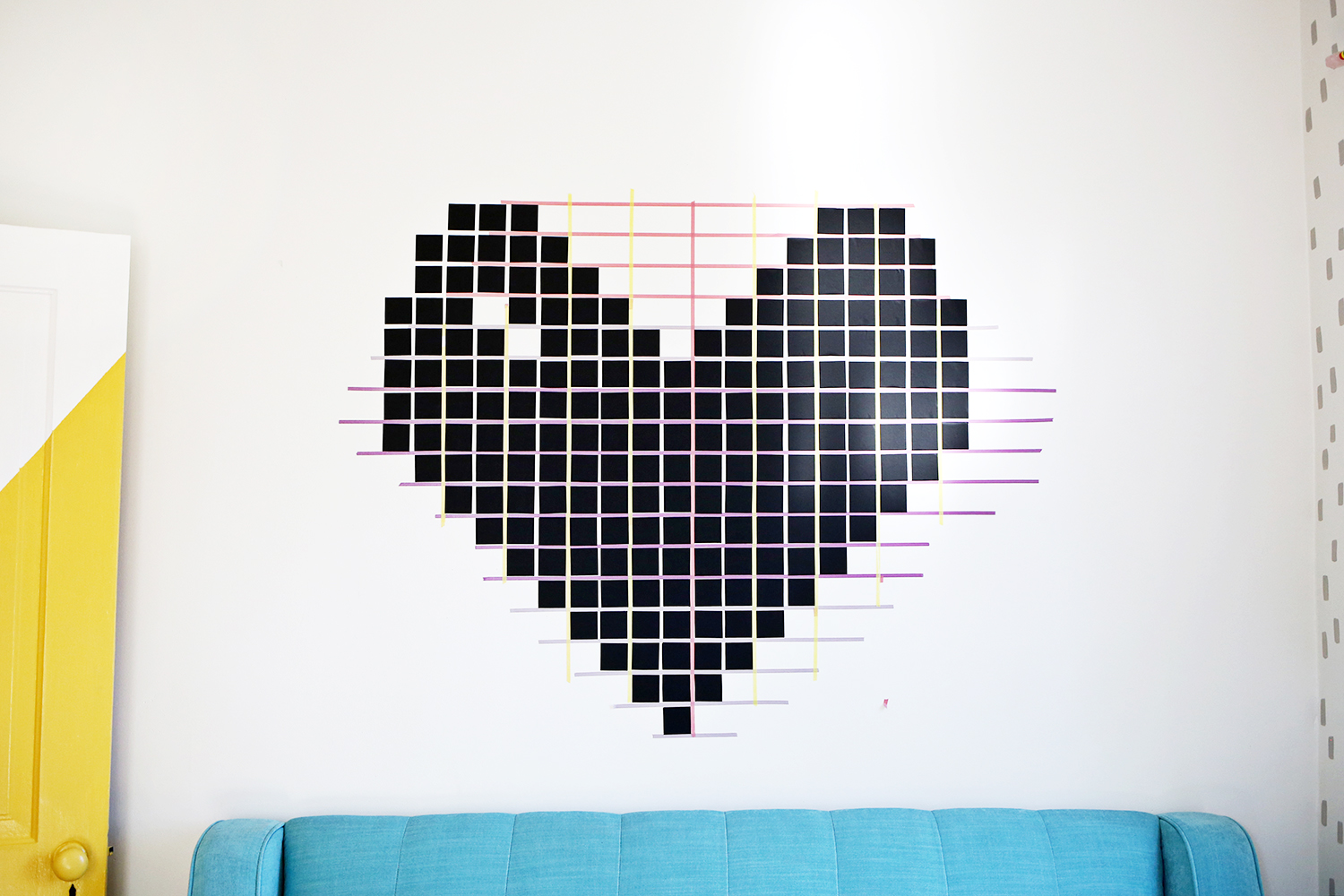 washi tape wall decor a beautiful mess. Black Bedroom Furniture Sets. Home Design Ideas
