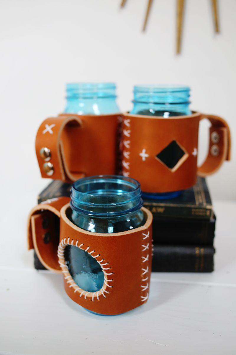 Leather mason jars sleeves!!!!!