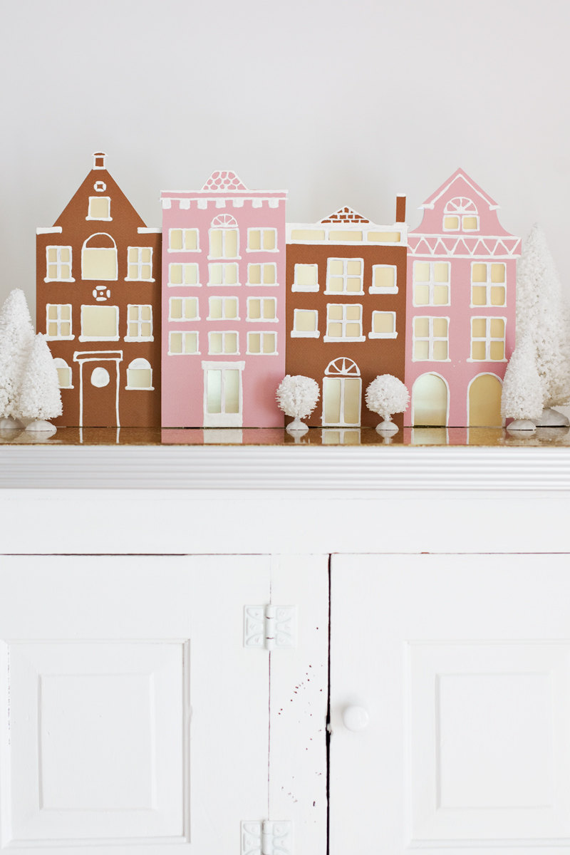 Simple winter village diy a beautiful mess for Home decorations with paper