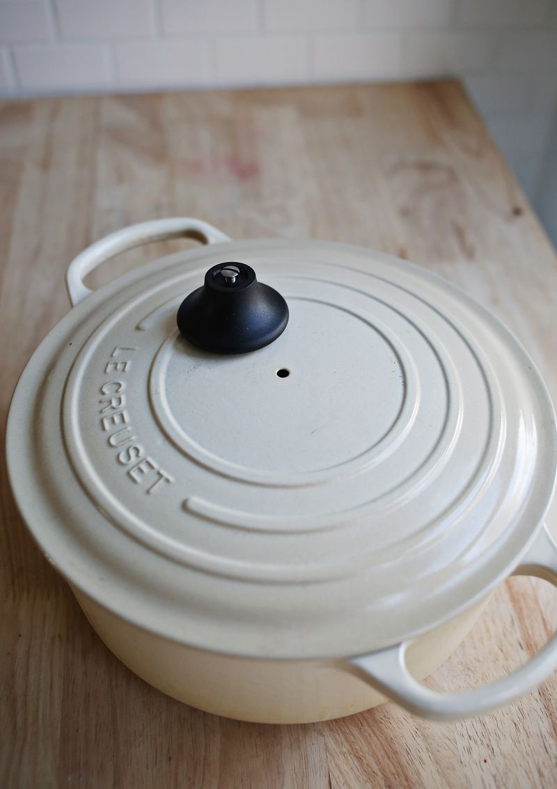 Remove the knob on a dutch oven before baking