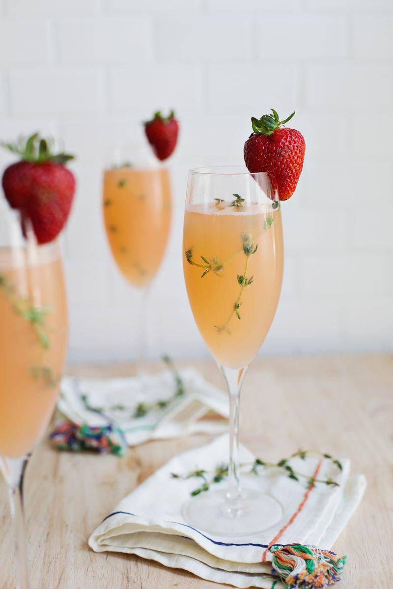 Strawberry grapefruit mimosa