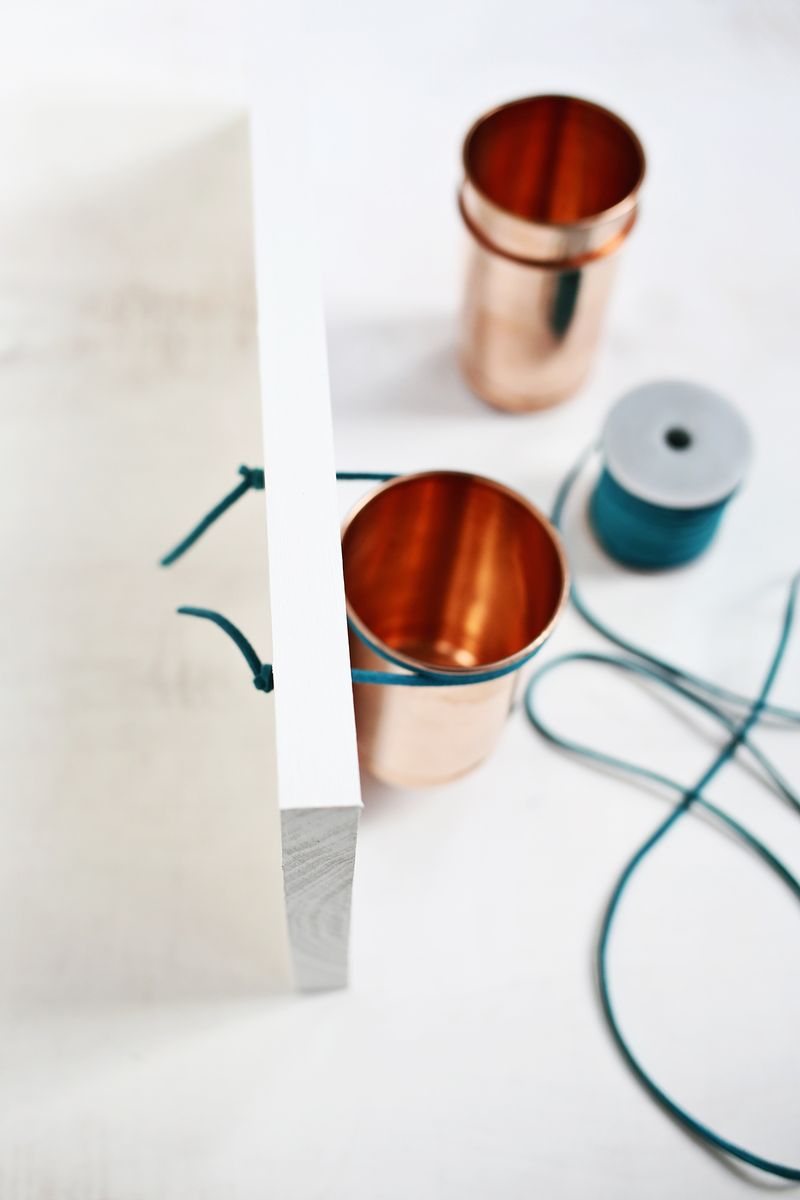 Leather + Copper Cup Organizer DIY (click through for tutorial)
