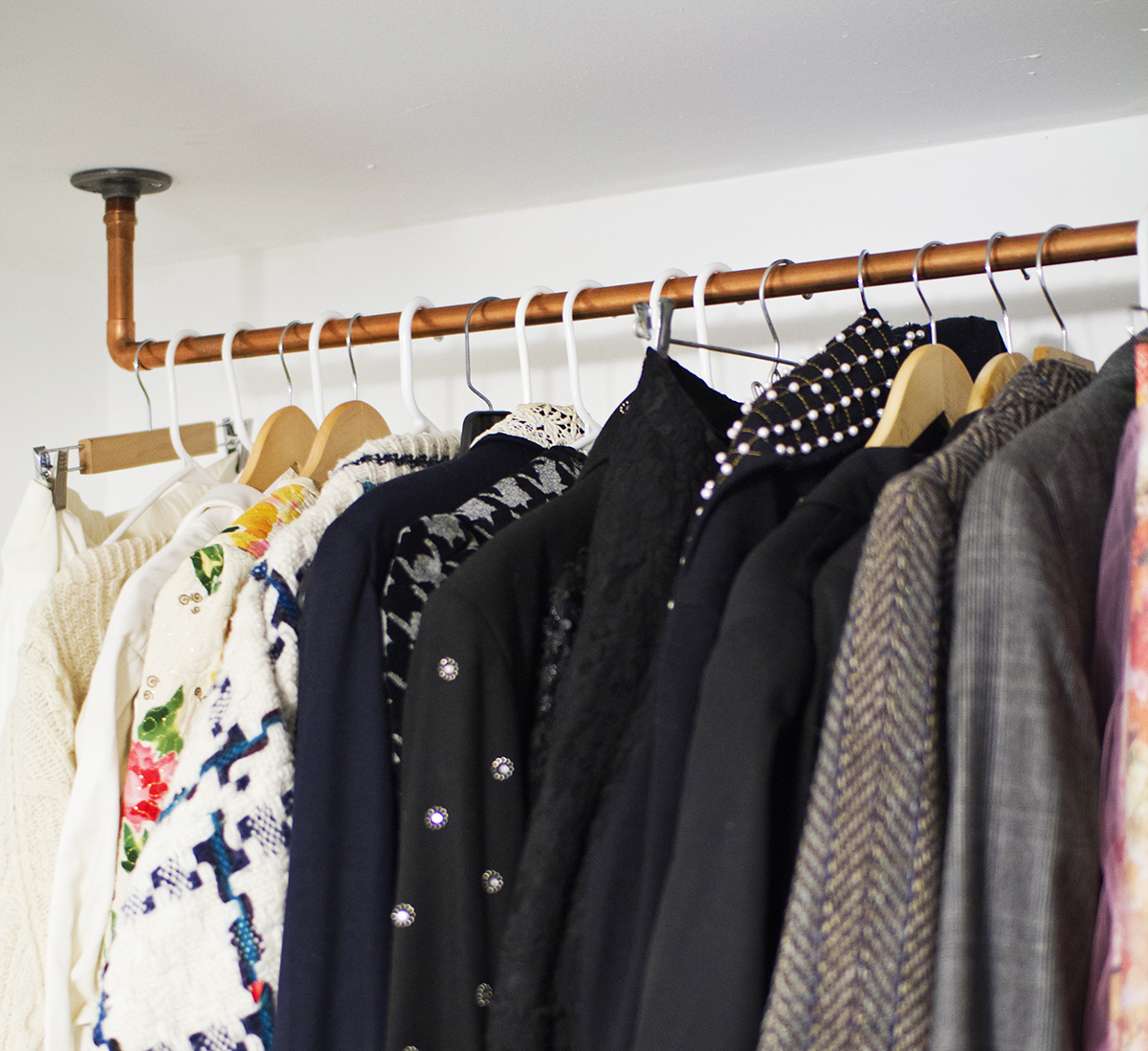 Copper garment rack