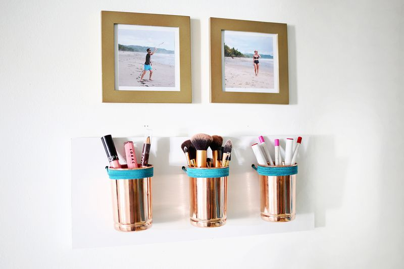 Leather Copper Cup Organizer Diy A Beautiful Mess