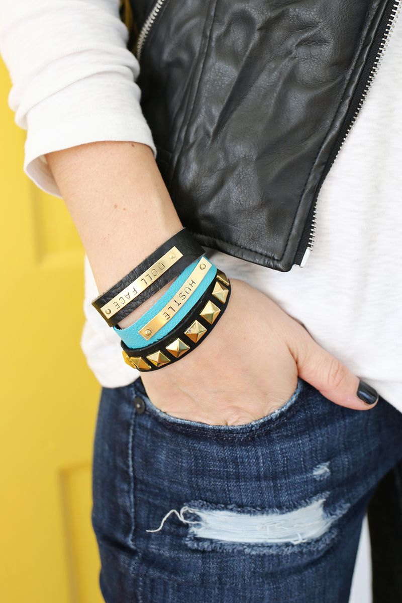 Love these! DIY Stamped Bar Leather Bracelet (click through for tutorial)