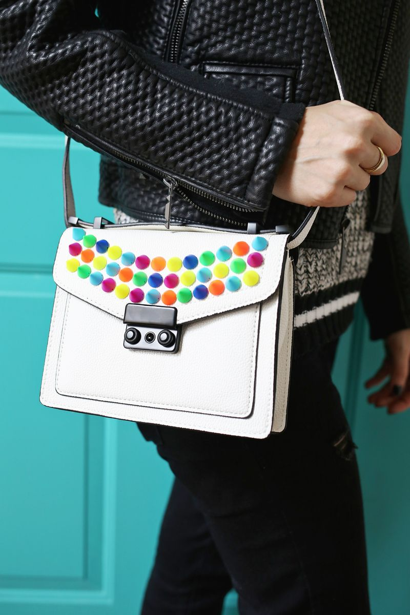 So fun! Upgrade a Handbag with Colorful Spikes (click through for more)