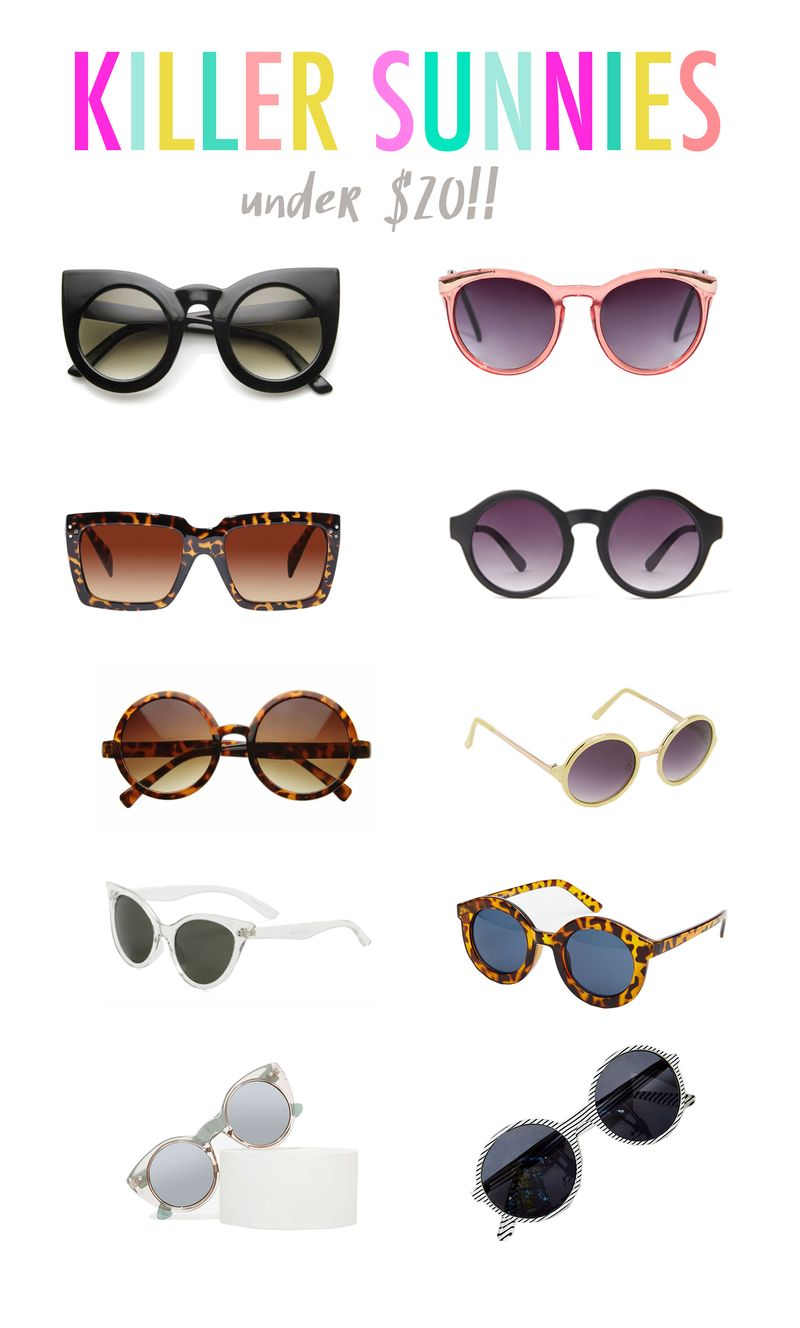 Killer Sunnies (all under $20!!) Click through for shopping links