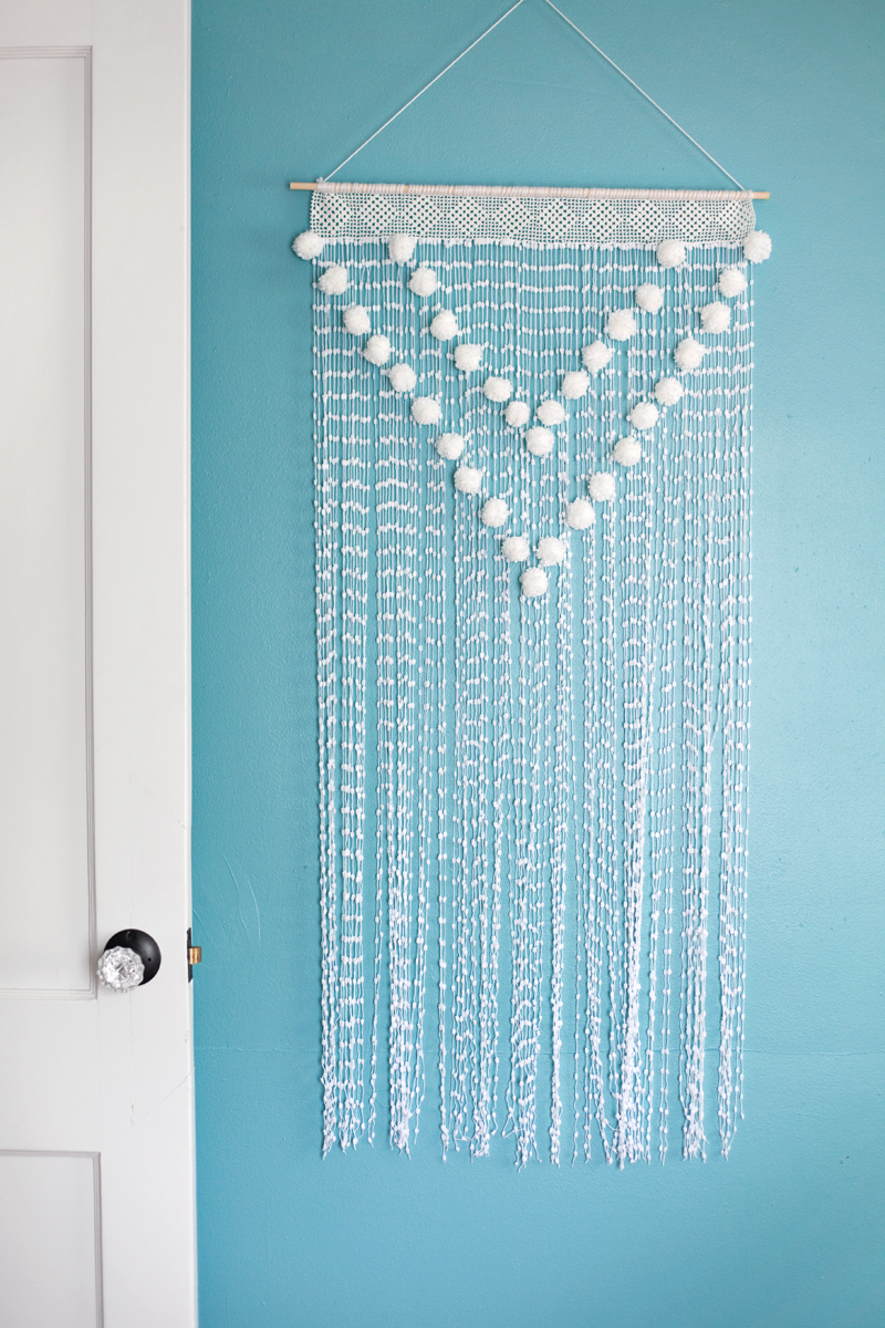 Pom pom wall hanging a beautiful mess - Wall hanging ideas ...