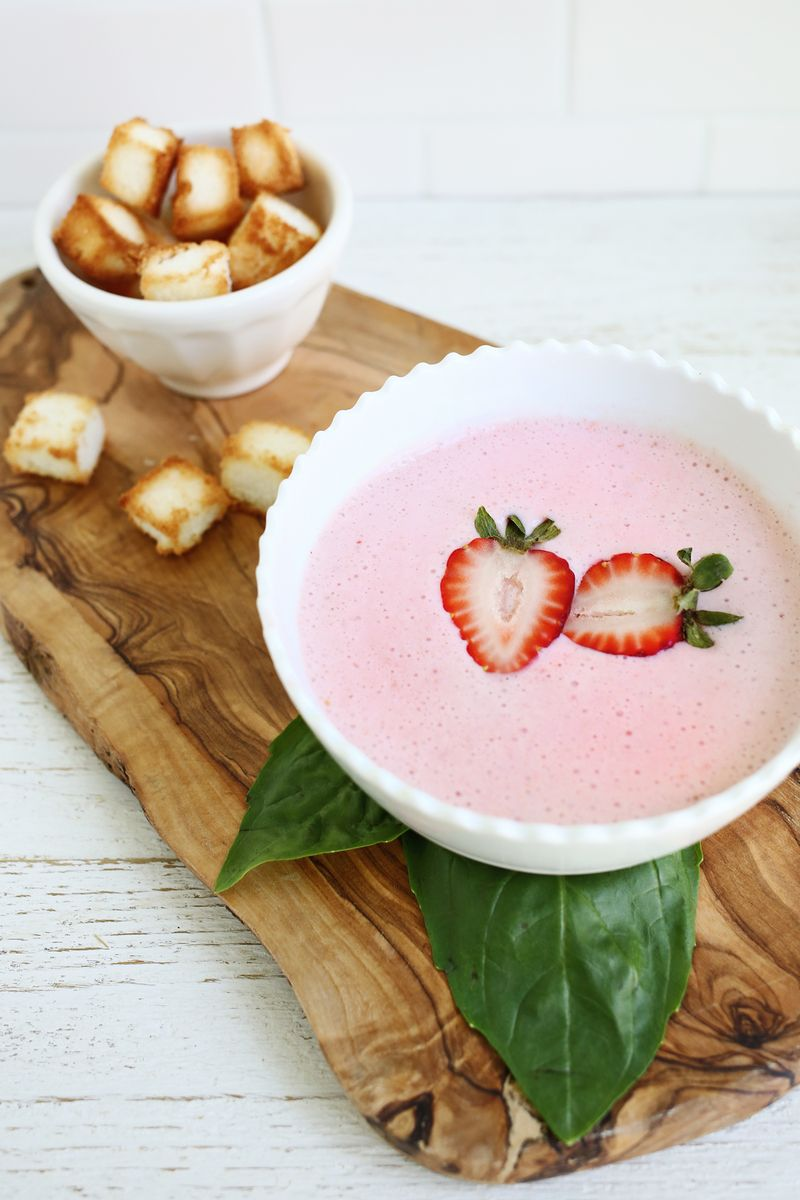 for summer! chilled strawberry basil soup (with angel food cake ...
