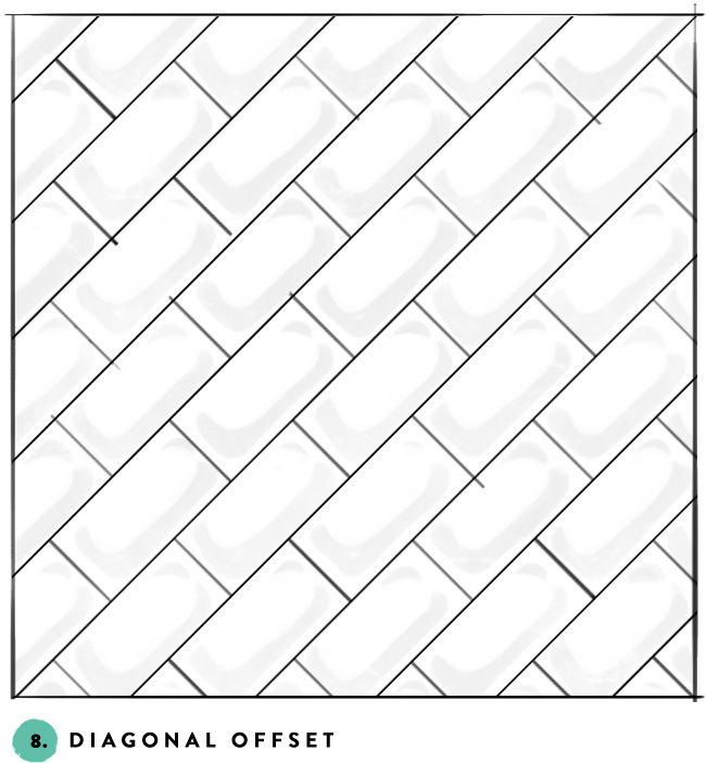 What's your favorite subway tile pattern? 8- diagonal offset