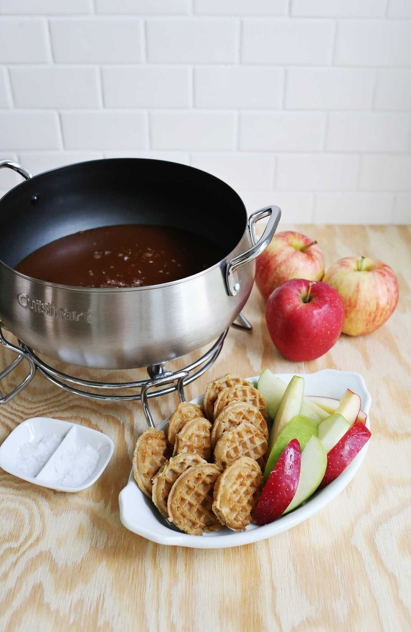 Salted Caramel Fondue, makes about 2 1/2 cups of sauce.