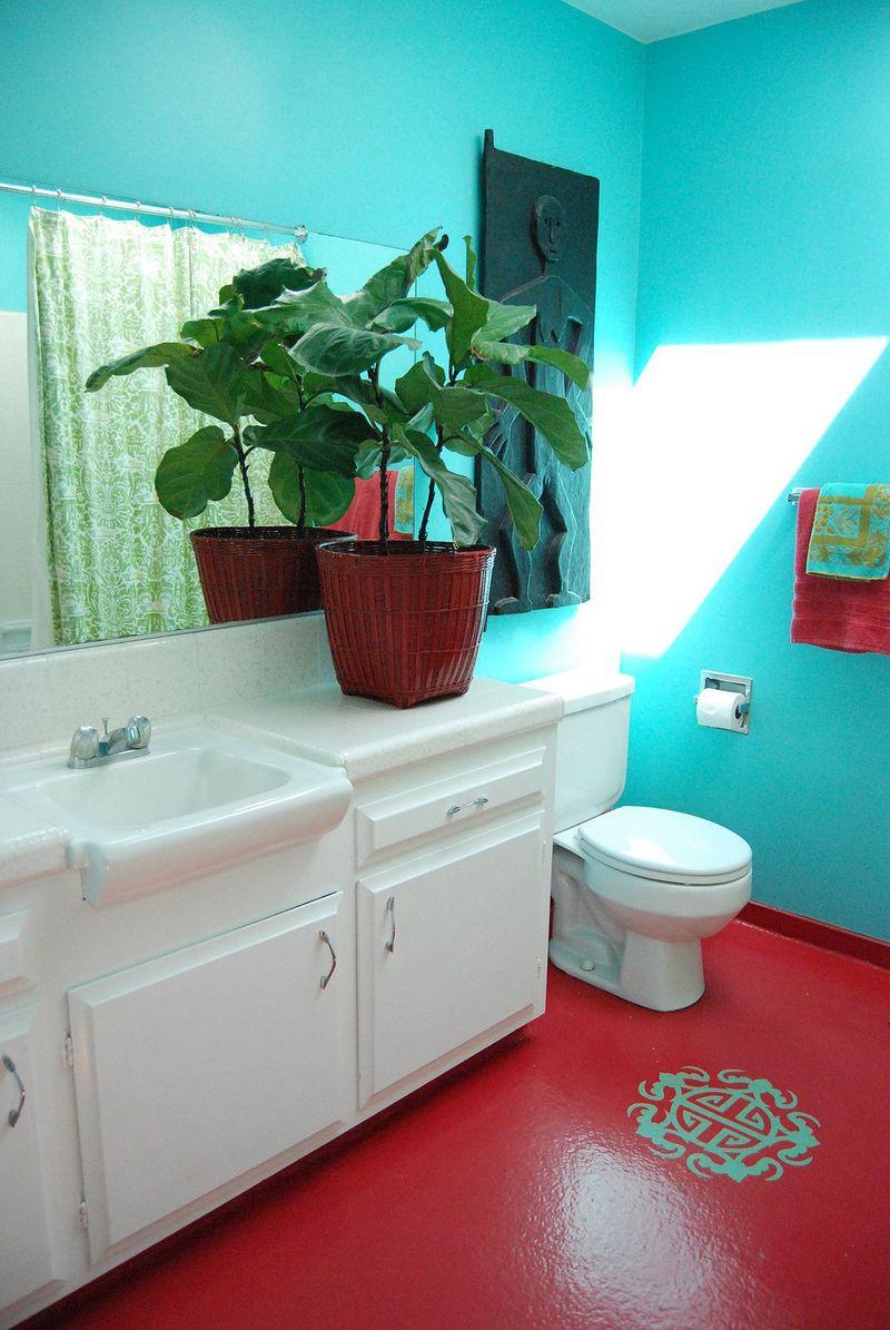 Red floor via At Home with Kimi Encarnacion