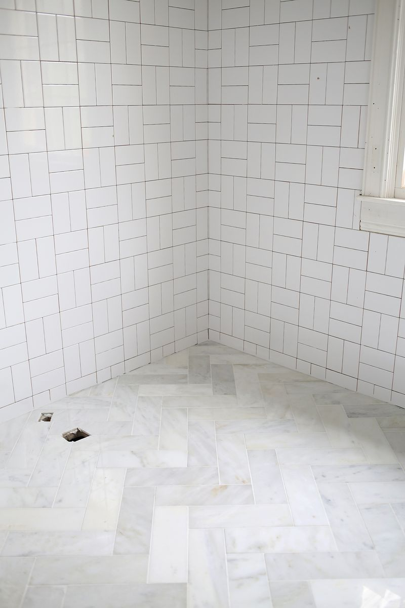 Try This Herringbone Marble Tile