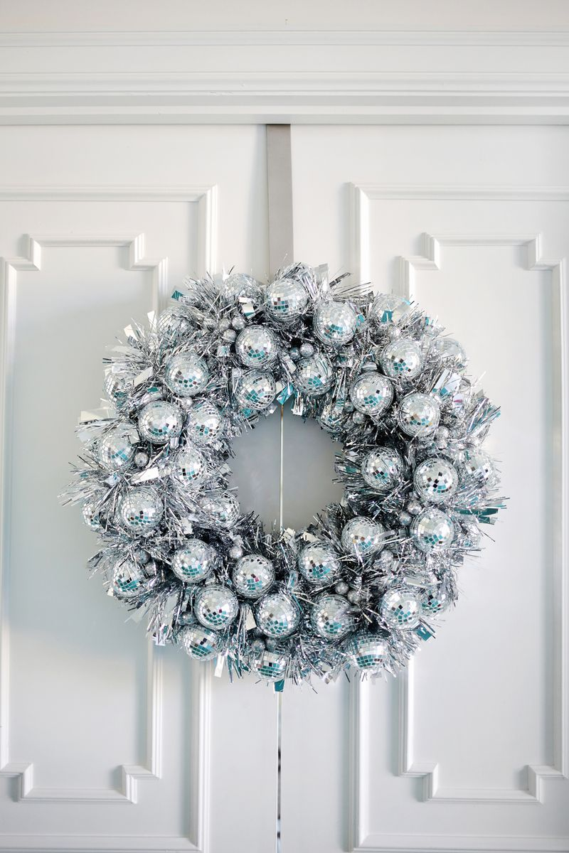 try this disco ball wreath sewing machines parts and sales in los angeles - Christmas Decorations To Make With Sewing Machine