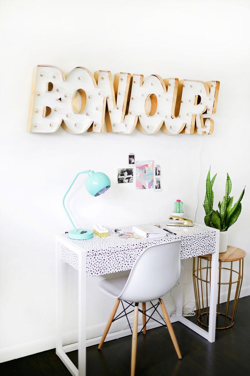 metal edge marquee diy a beautiful mess. Black Bedroom Furniture Sets. Home Design Ideas