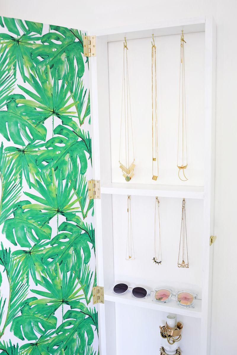 Diy Hanging Jewelry Organizer - Jewelry storage mirror diy click through for tutorial