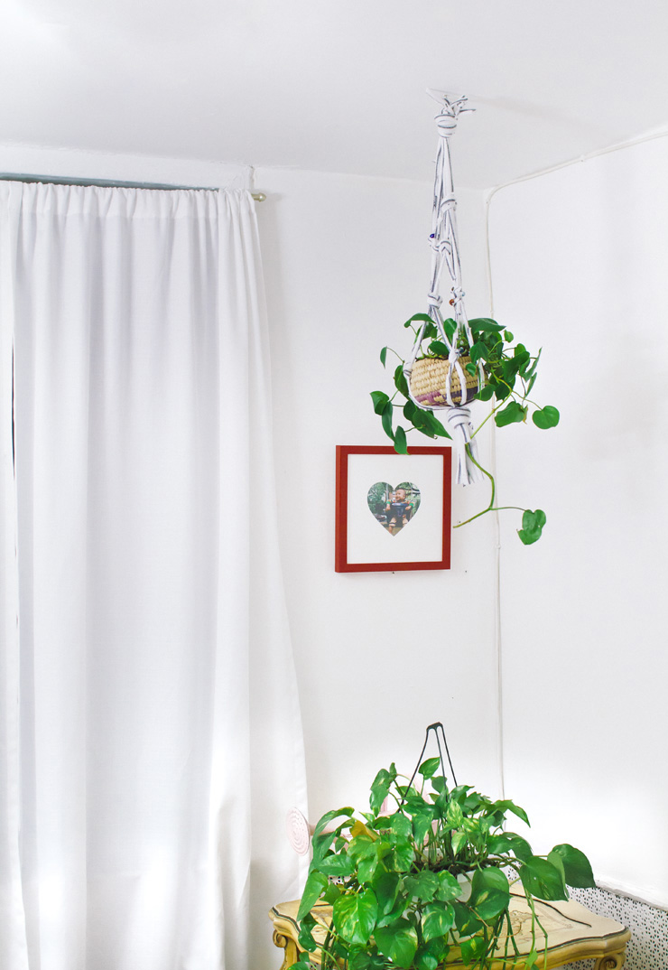Hanging Planter Make A Hanging Planter From An Old T Shirt A Beautiful Mess