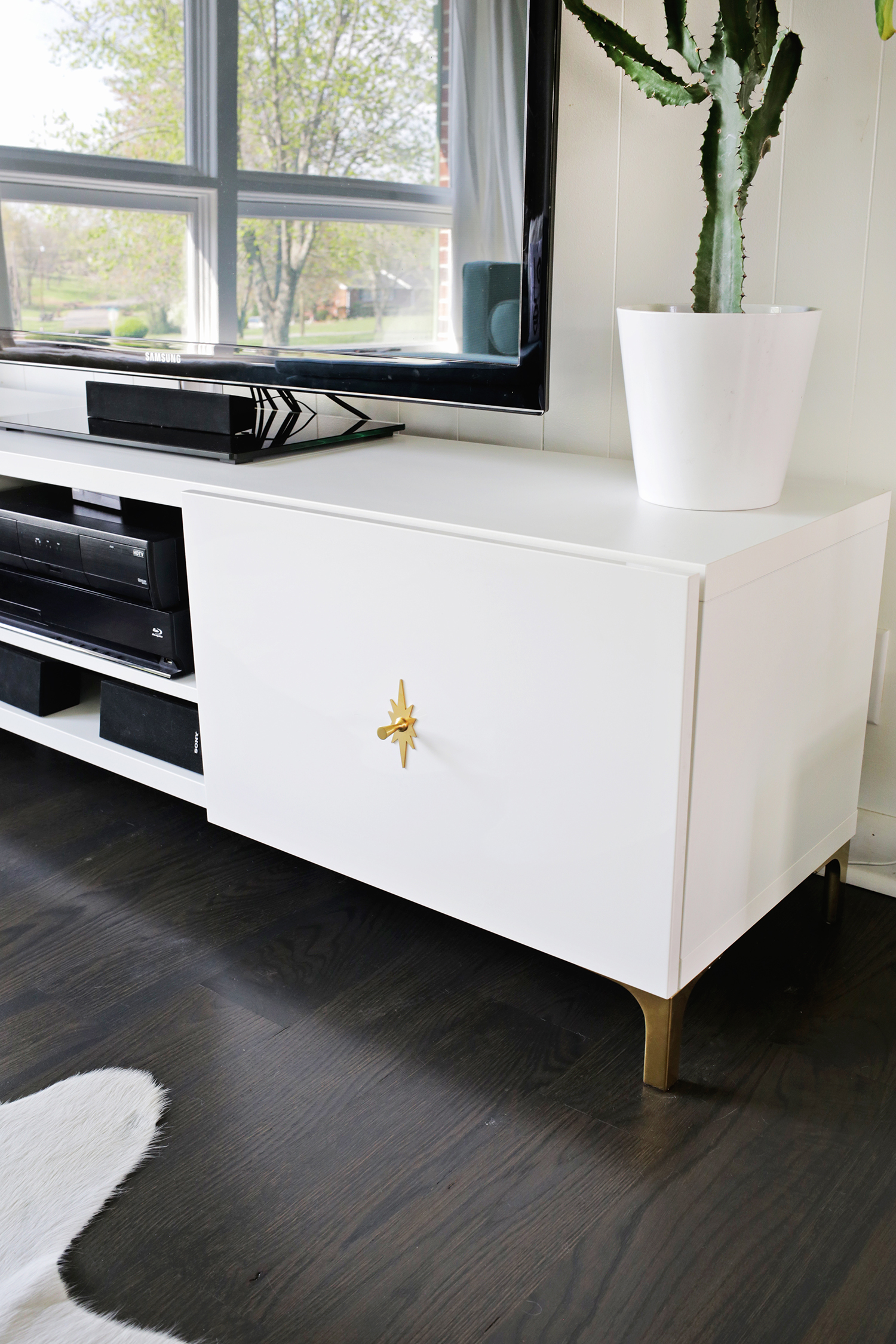 Ikea restyle mid century tv stand a beautiful mess for Tall tv stand ikea