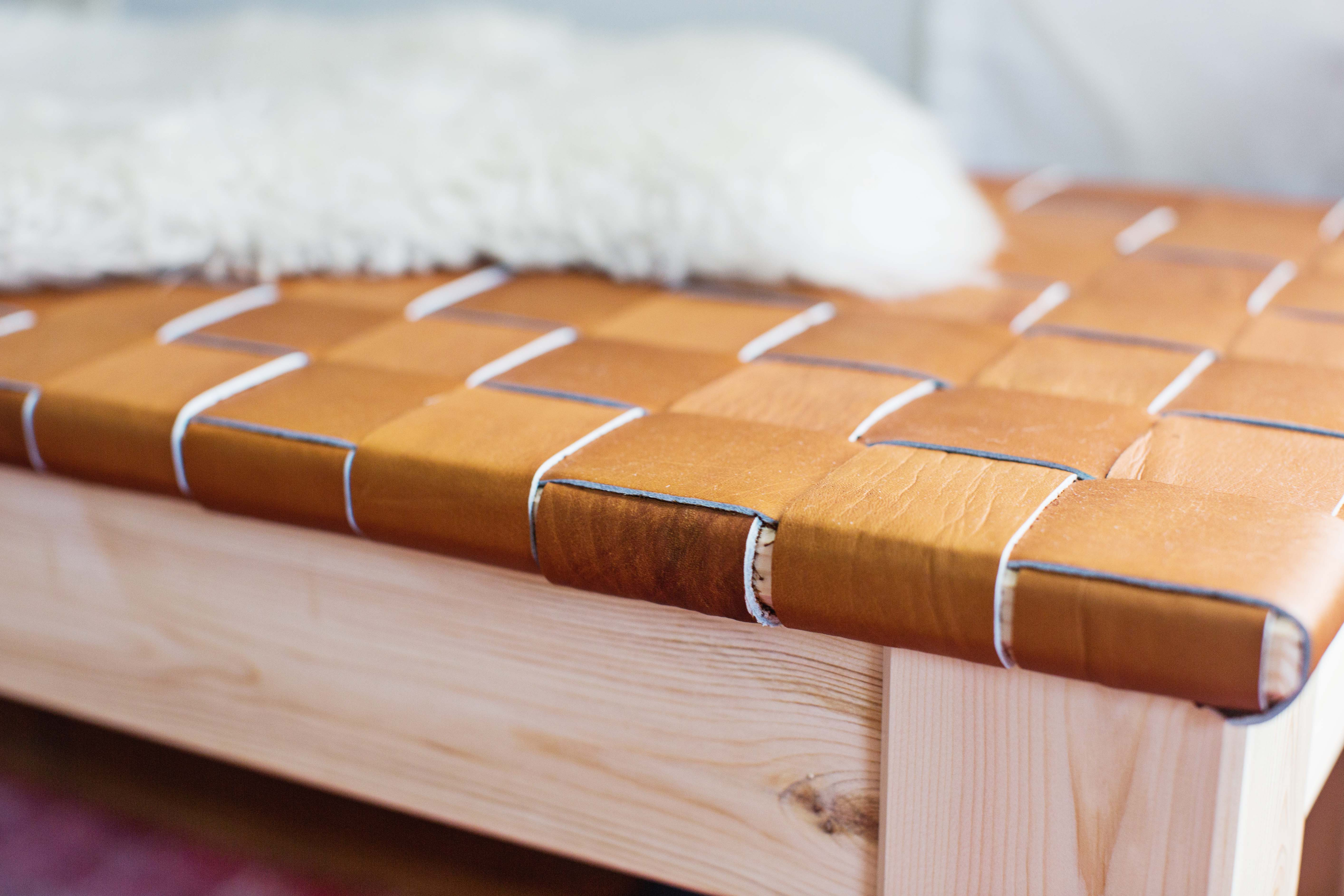 Diy Bench Woven Leather Bench Diy A Beautiful Mess