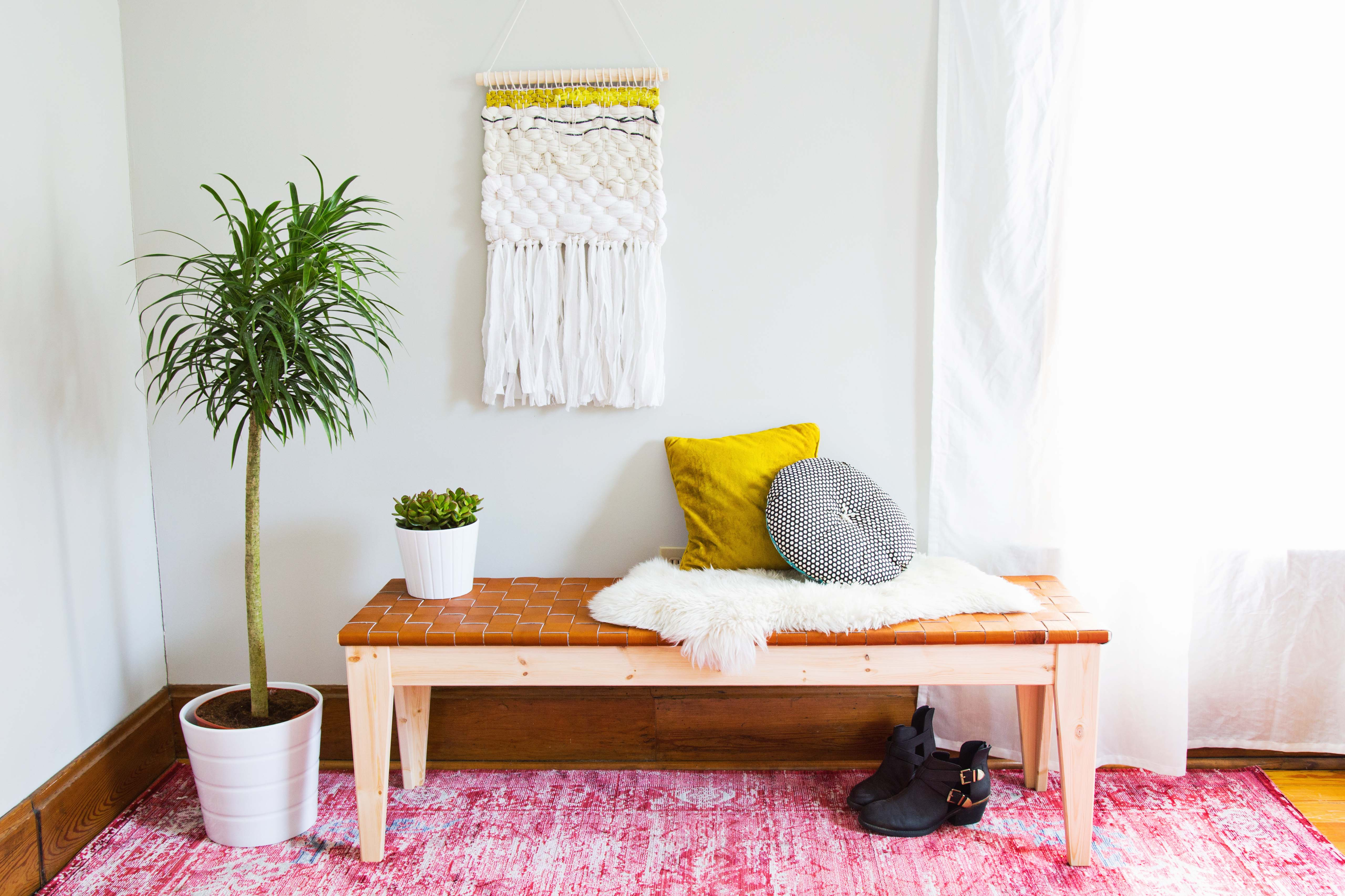 Woven Leather Bench DIY - A Beautiful Mess