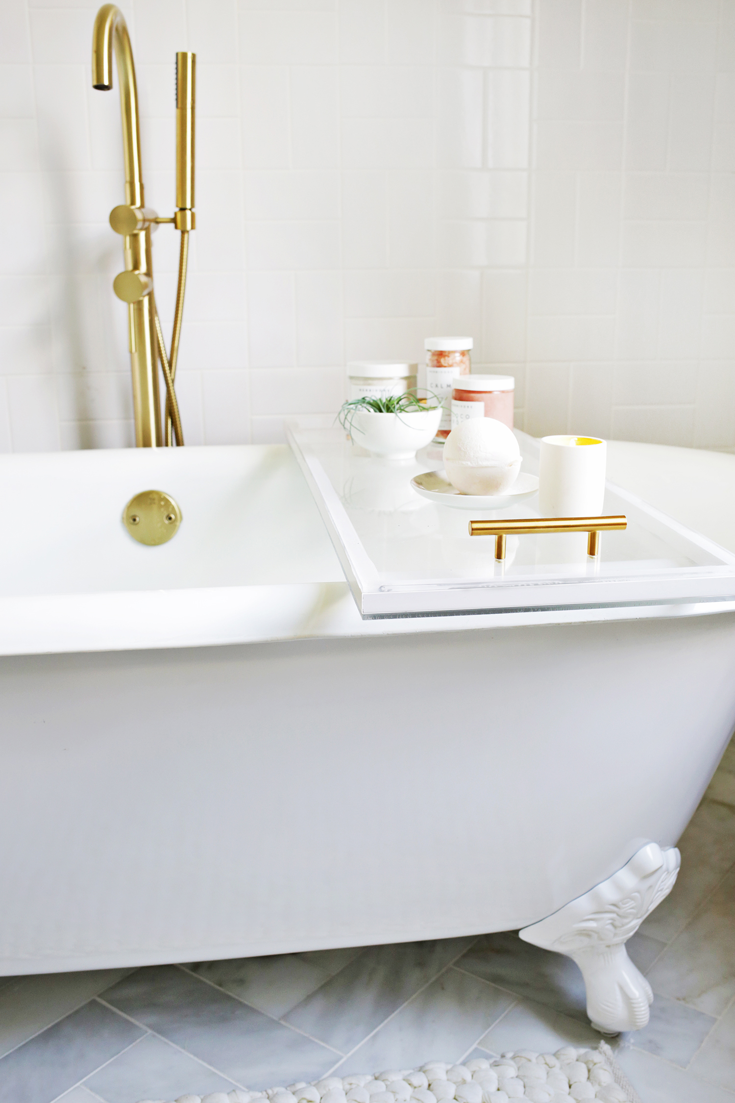 Lucite Bathtub Caddy DIY! - A Beautiful Mess