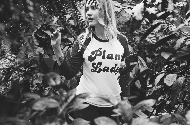 Plant Lady baseball t-shirt.