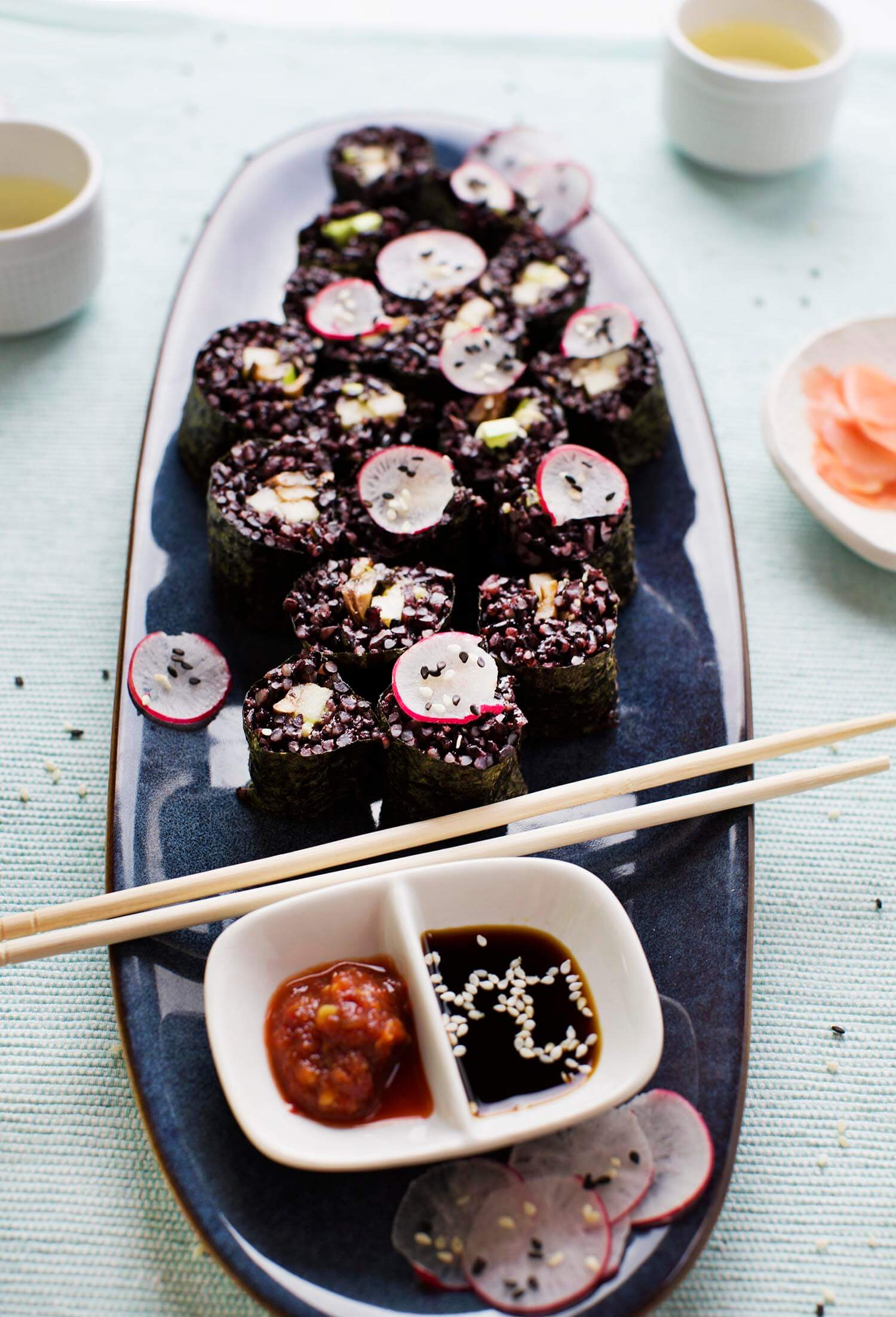 Smoky Mushroom and Black Rice Sushi (via abeautifulmess.com)
