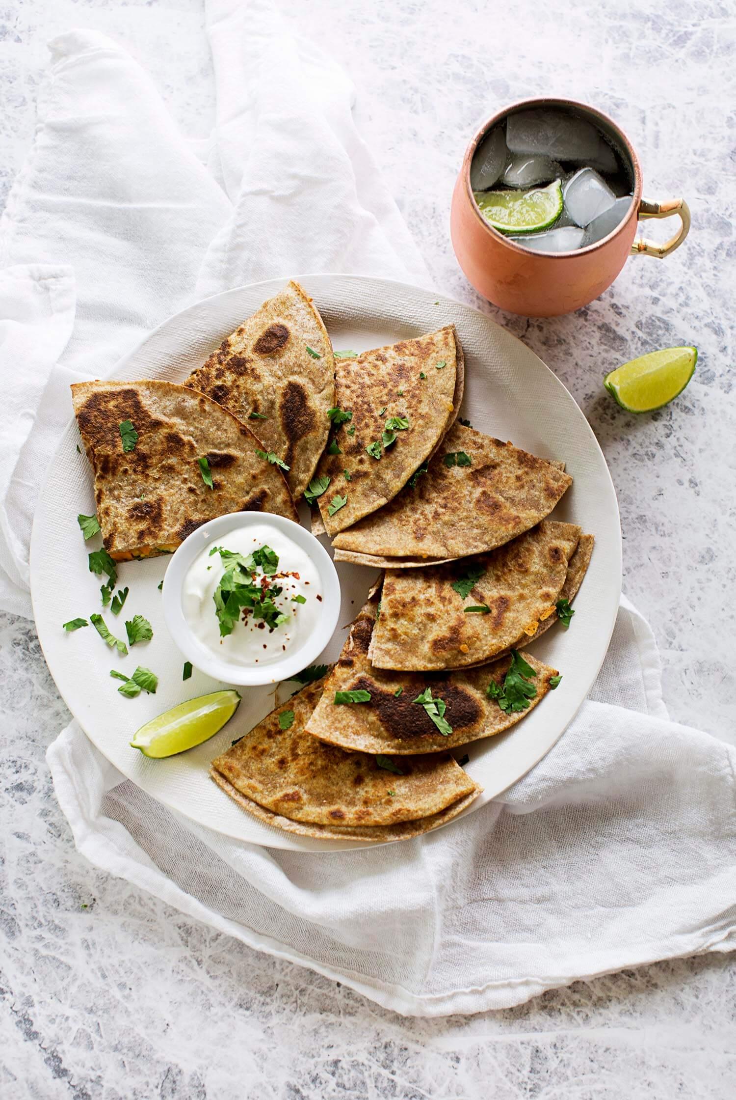 Sweet Potato and Kale Quesadillas (via abeautifulmess.com)