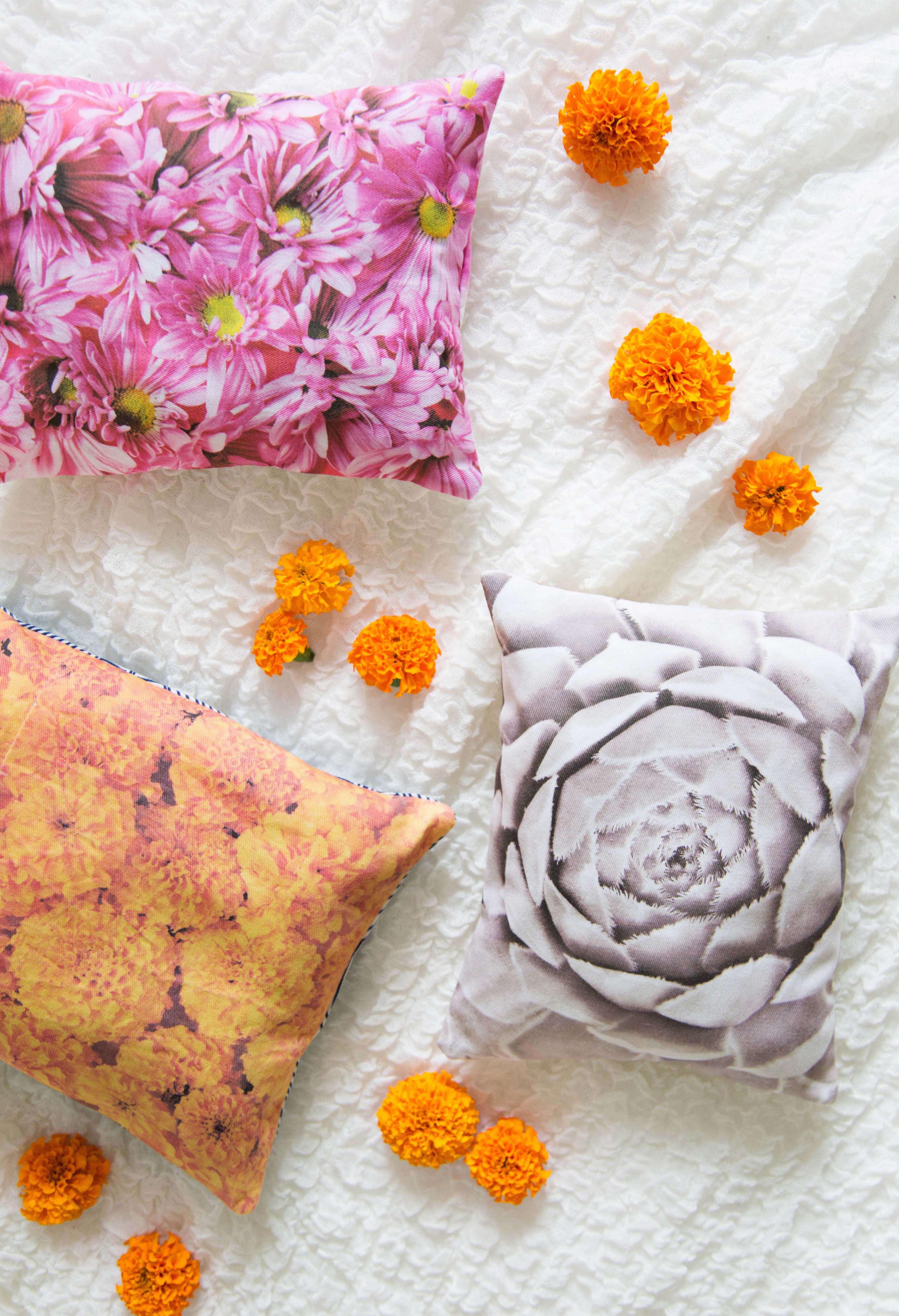 Create Vibrant Floral Photo Pillows - A Beautiful Mess 770c7aecff3c