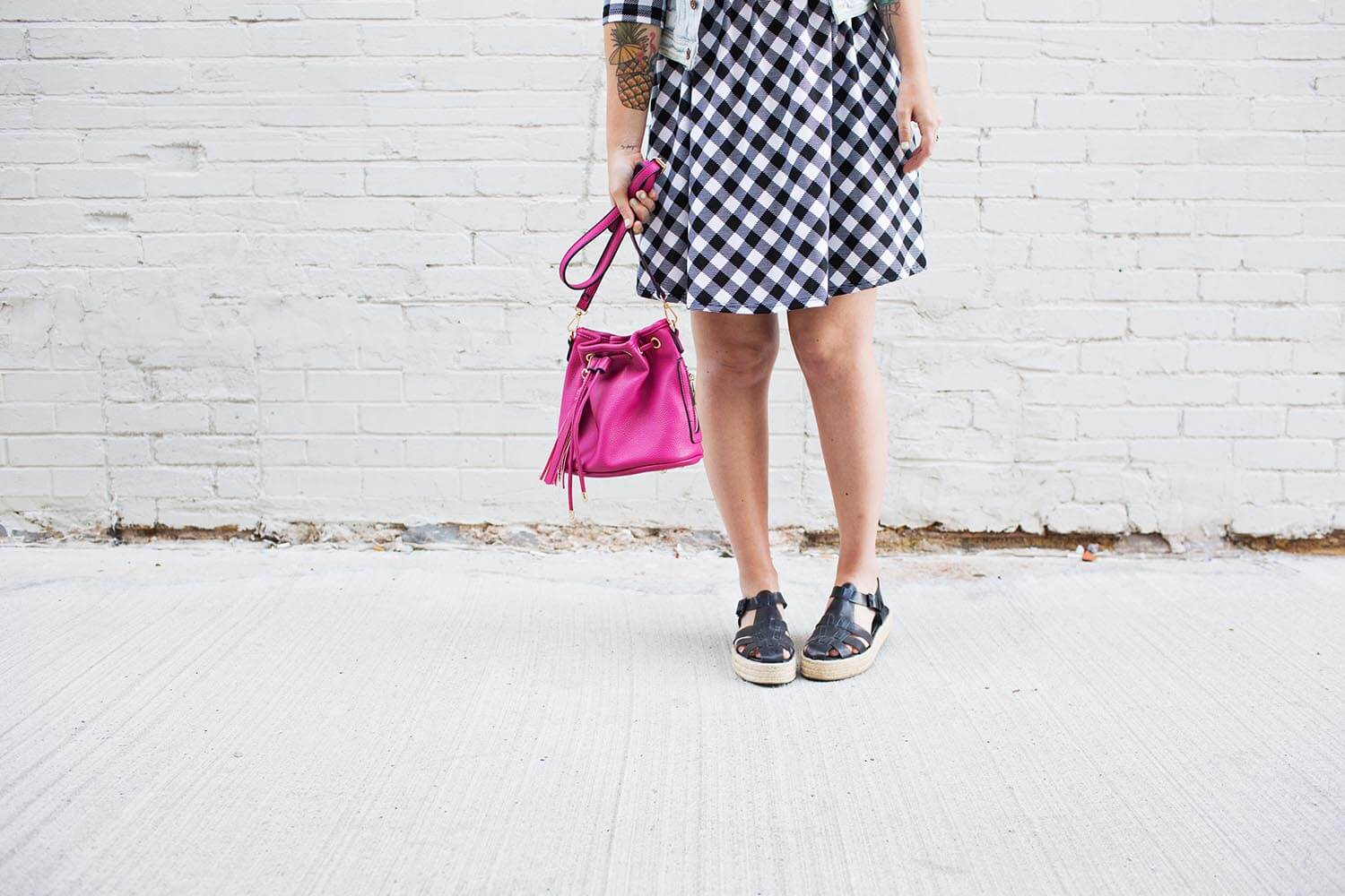 Gingham dress and pink bucket bag from Oui Fresh
