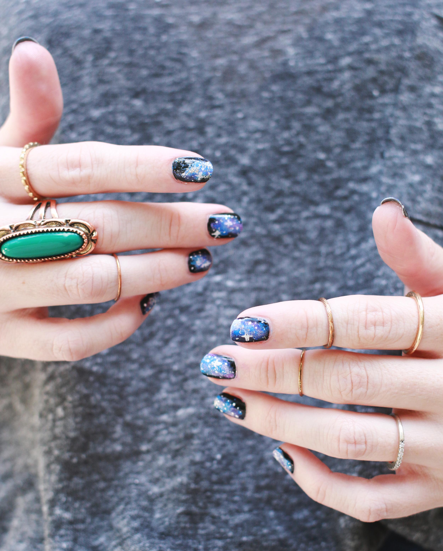 Easy Galaxy Nails Mani Diy A Beautiful Mess