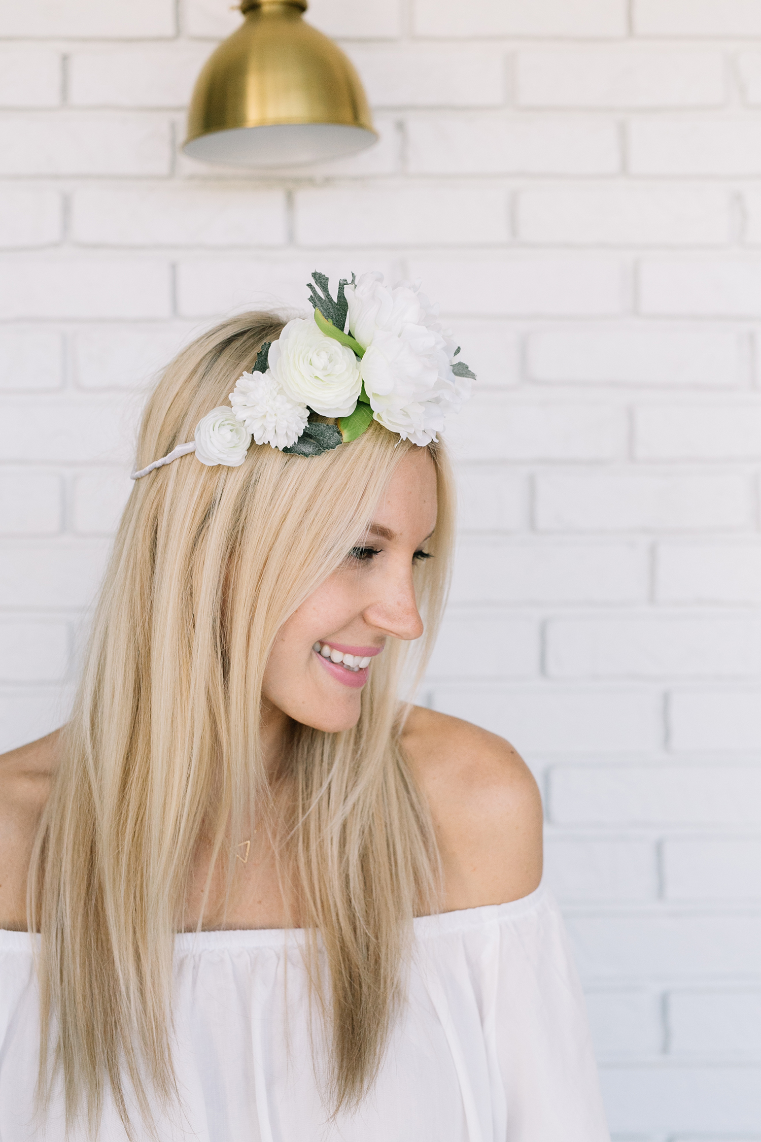 White Flower Crown DIY – A Beautiful Mess