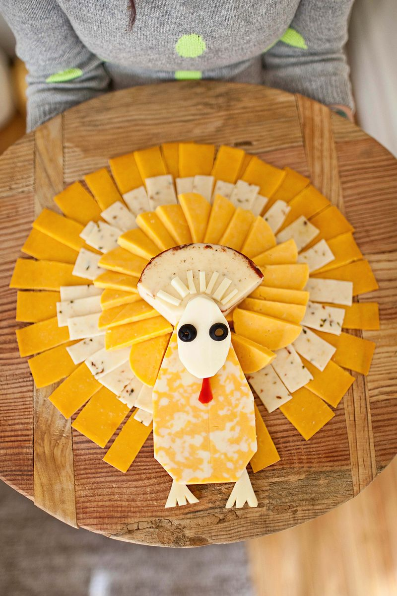 Turkey shaped cheese tray