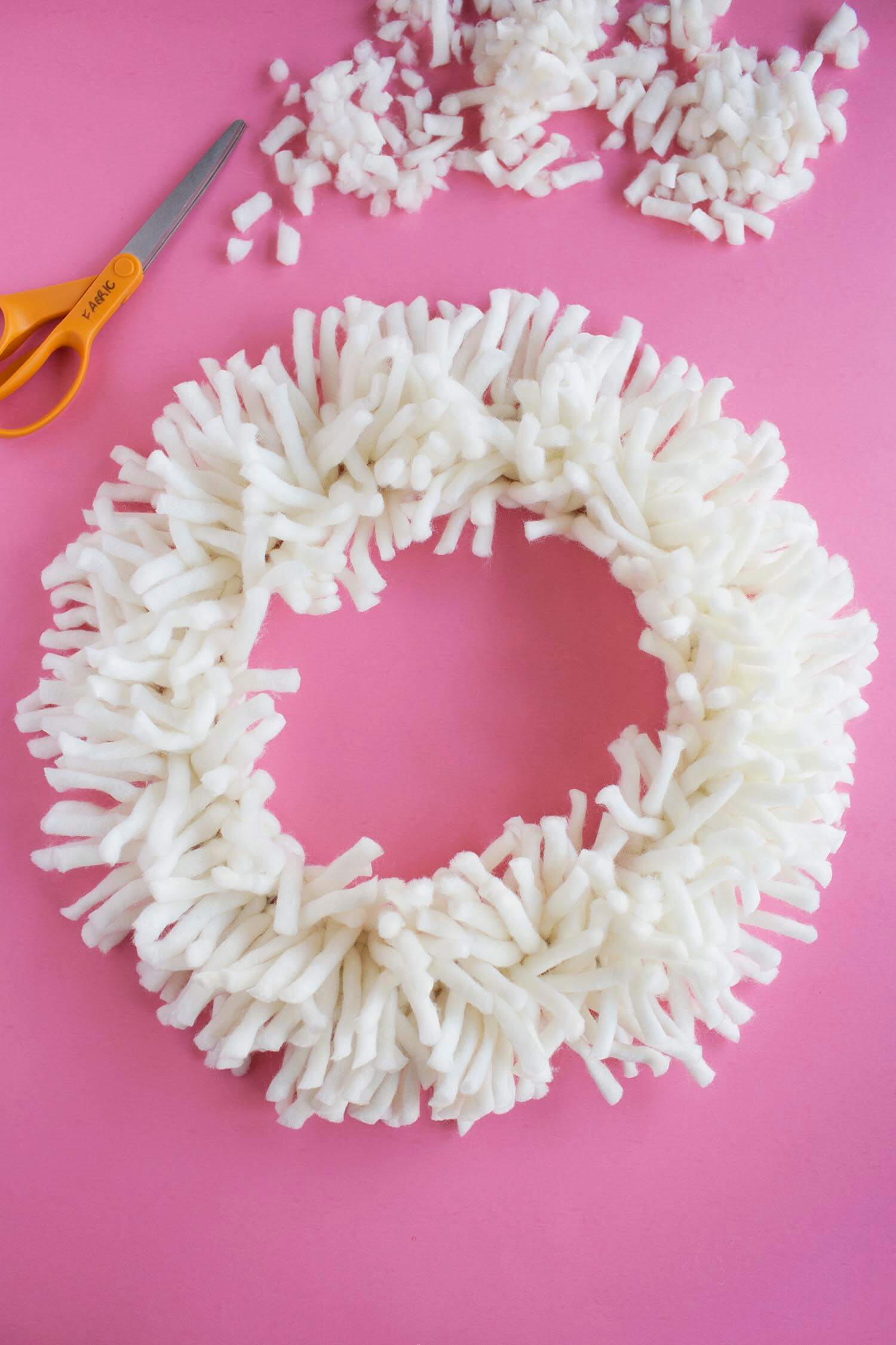 DIY shag rug wreath