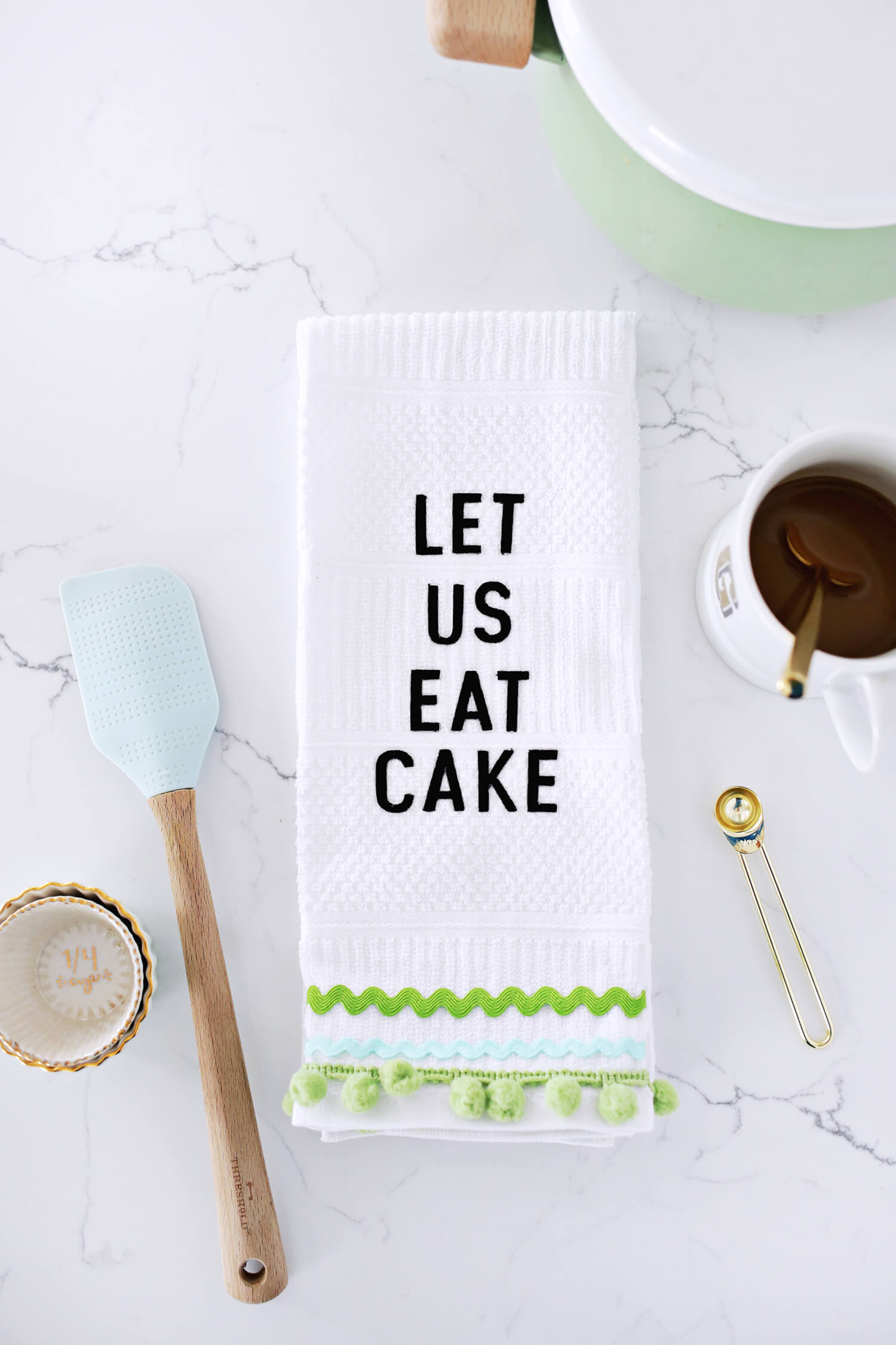 Embroidered phrase kitchen towel diy no sew a