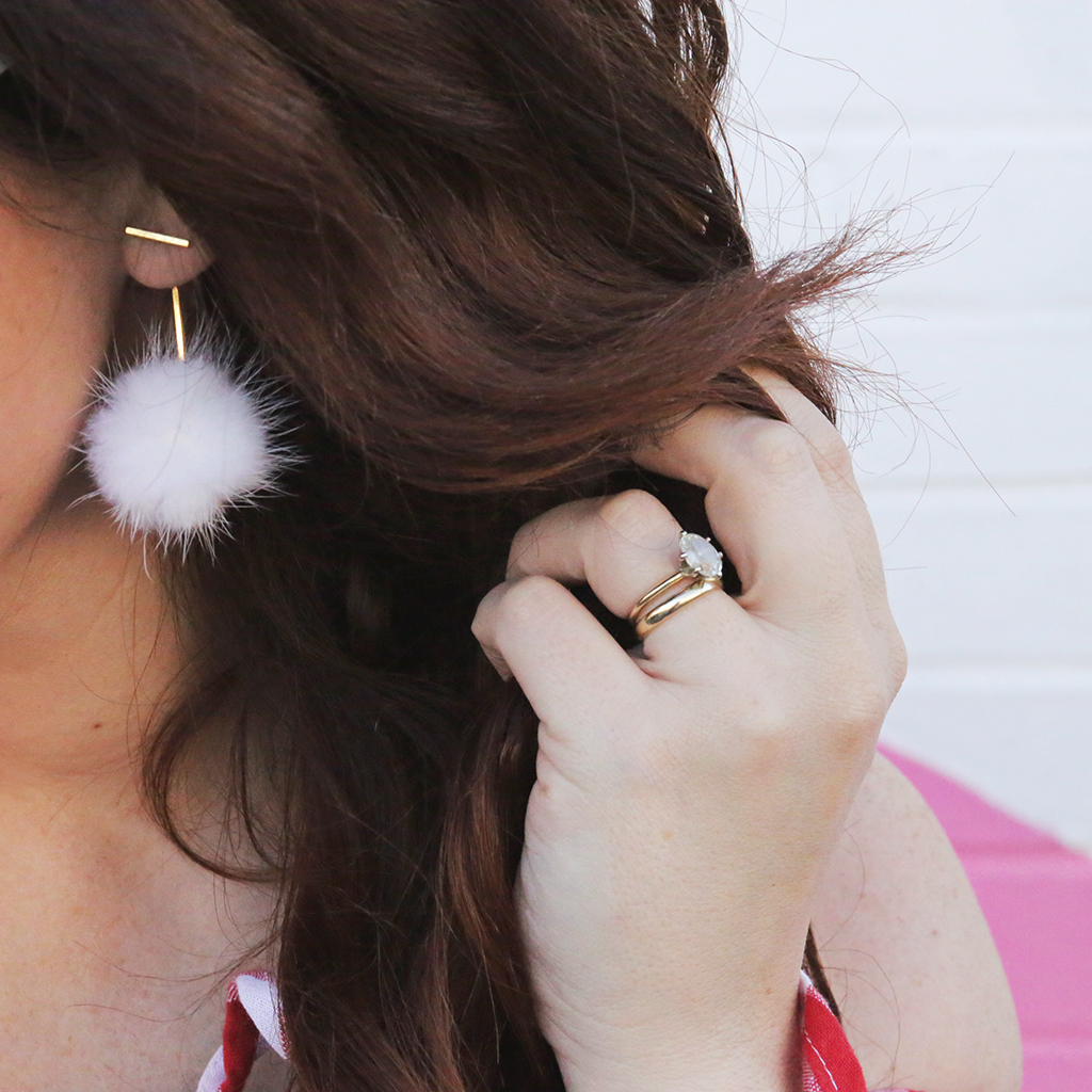 White Pom Pom Earring 2