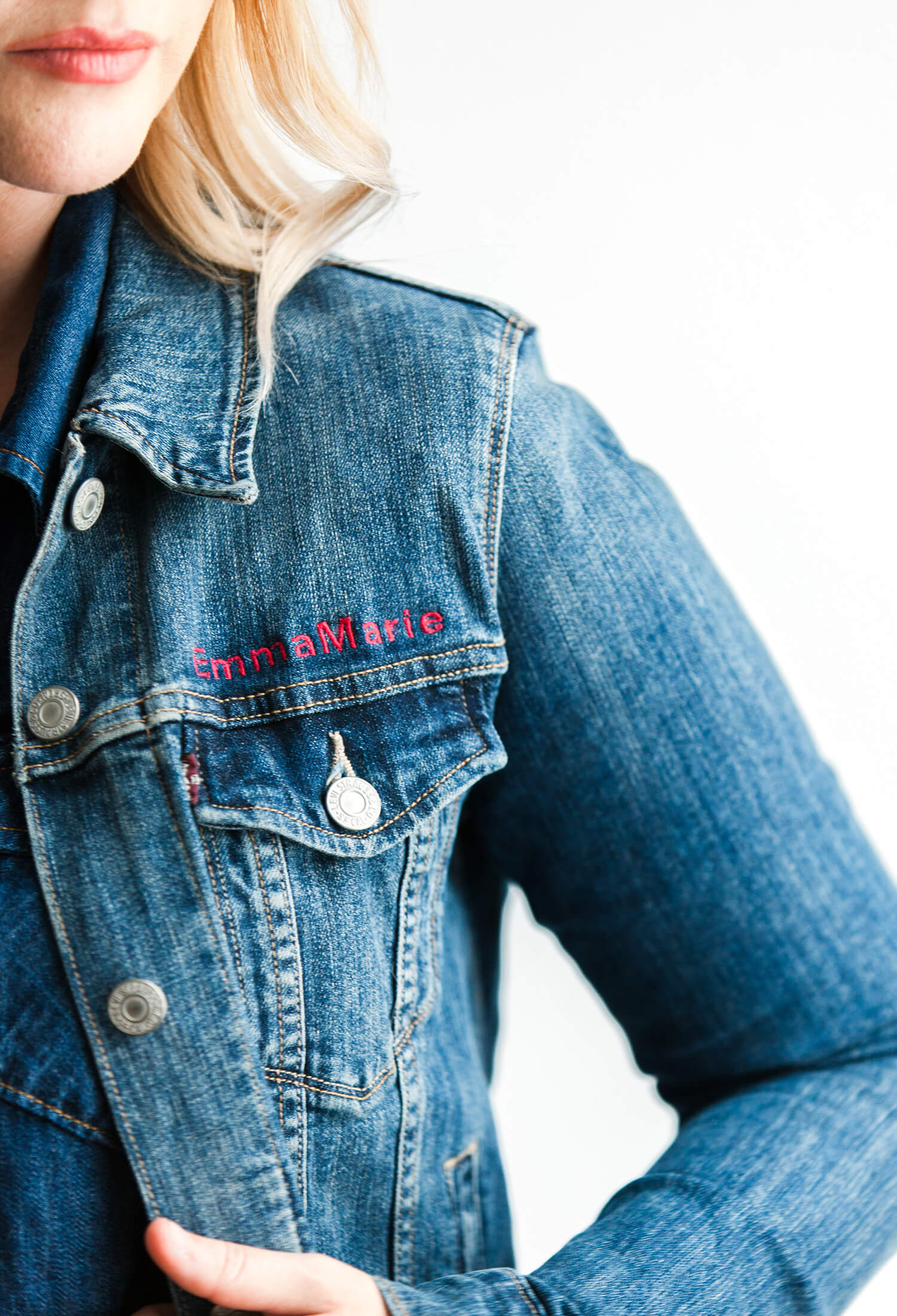 DIY embroidered denim jacket close up